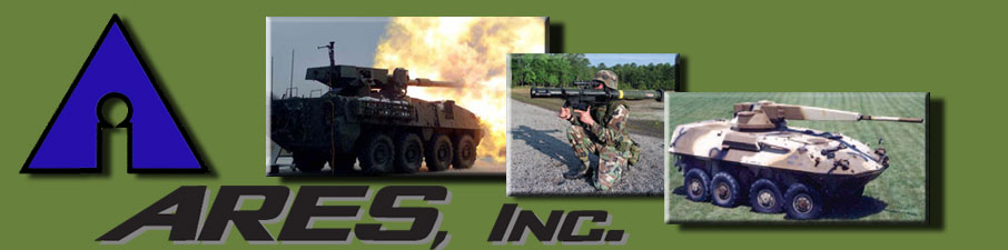 ARES, Inc. logo and the MGS, SMAW and the75mm XM274 on a LAV